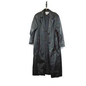 Liz Baker Black Leather Trench Coat Jacket Medium